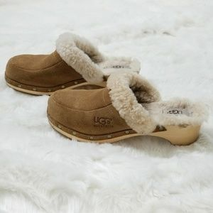 UGG Brown Leather & Sheepskin Clogs